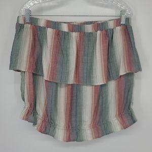 American Eagle Stripe Ruffle Detail Tube Top Shirt